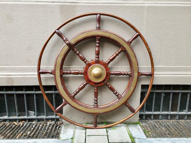 Belgian Large Antique Victorian Eight Spoke Mahogany and Brass Ships Steering Wheel For Sale