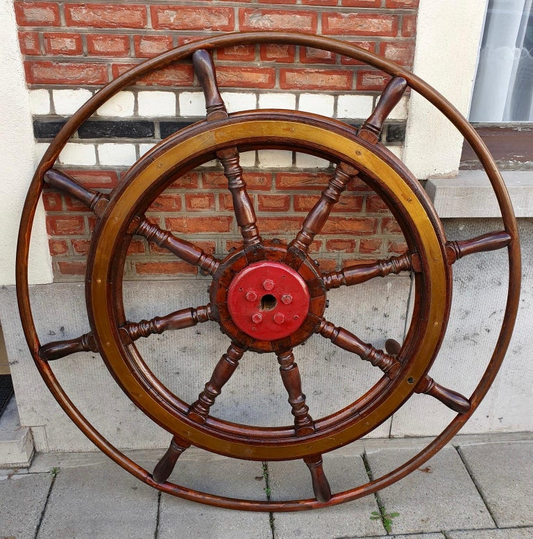 20th Century Large Antique Victorian Eight Spoke Mahogany and Brass Ships Steering Wheel For Sale