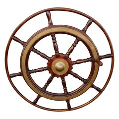 Large Antique Victorian Eight Spoke Mahogany and Brass Ships Steering Wheel