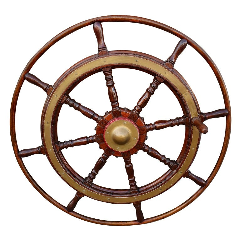Large Antique Victorian Eight Spoke Mahogany and Brass Ships Steering Wheel For Sale