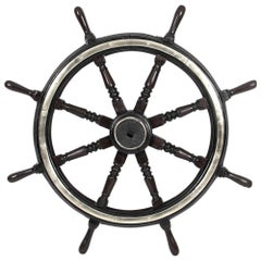 Large Antique Victorian Eight Spoke Mahogany and Brass Ships Wheel, 19th Century
