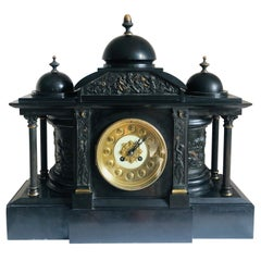 Large Antique Victorian Marble Mantle Clock