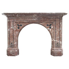 Large Antique Victorian Rouge Marble Inlaid Fireplace Surround
