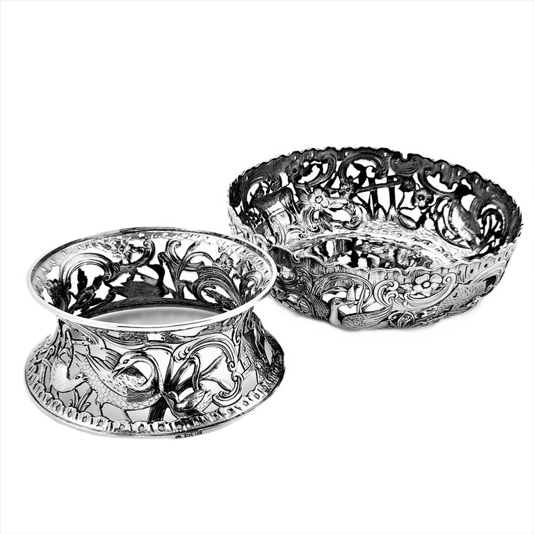 Large Antique Victorian Silver Dish Ring and Bowl 1900 Georgian Irish Style For Sale 4