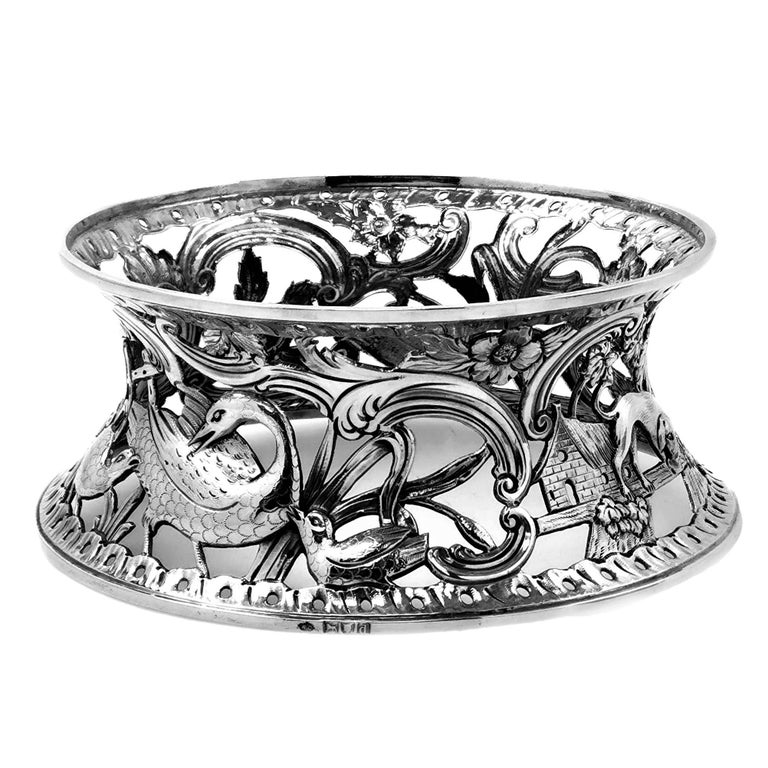 Large Antique Victorian Silver Dish Ring and Bowl 1900 Georgian Irish Style For Sale 5