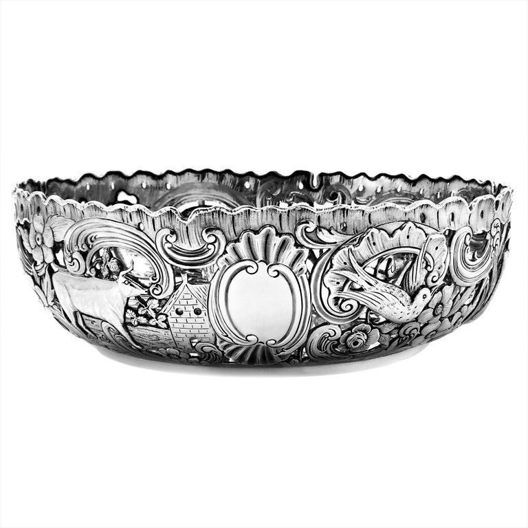 Large Antique Victorian Silver Dish Ring and Bowl 1900 Georgian Irish Style For Sale 6