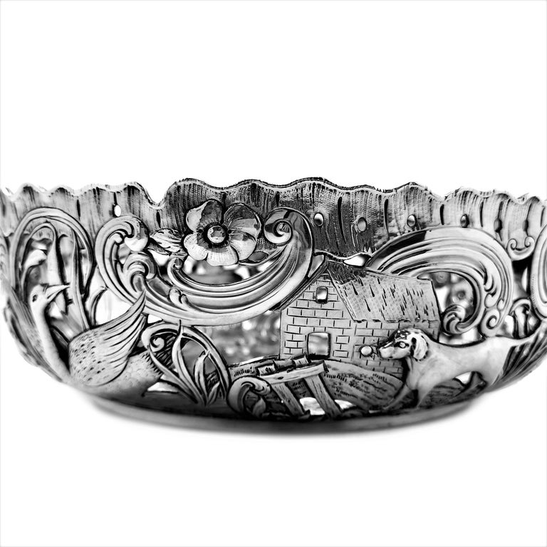 Large Antique Victorian Silver Dish Ring and Bowl 1900 Georgian Irish Style For Sale 9