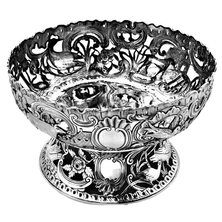 English Large Antique Victorian Silver Dish Ring and Bowl 1900 Georgian Irish Style For Sale