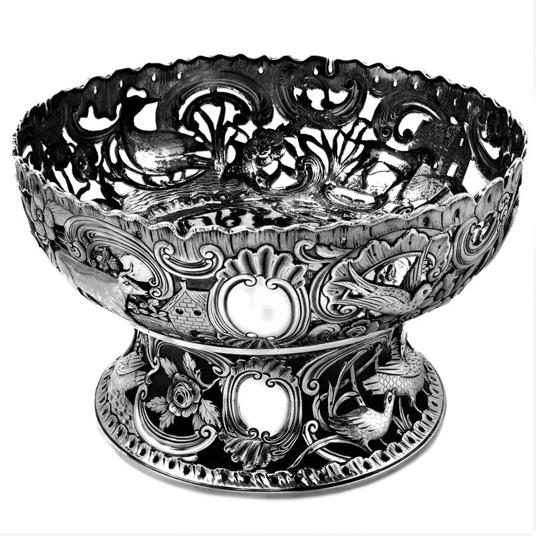 Large Antique Victorian Silver Dish Ring and Bowl 1900 Georgian Irish Style In Good Condition For Sale In London, GB