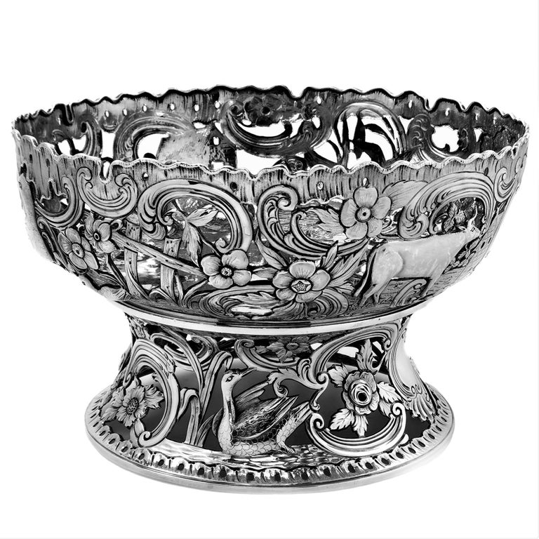 20th Century Large Antique Victorian Silver Dish Ring and Bowl 1900 Georgian Irish Style For Sale