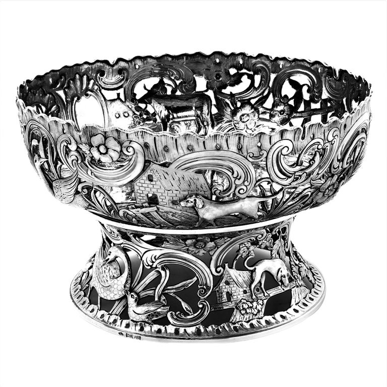 Large Antique Victorian Silver Dish Ring and Bowl 1900 Georgian Irish Style For Sale 1