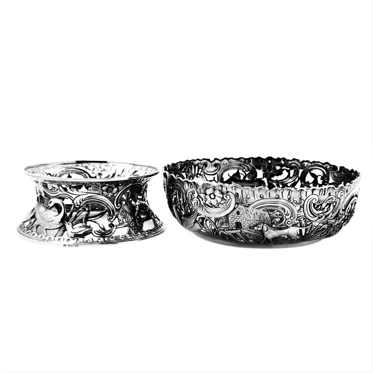 Large Antique Victorian Silver Dish Ring and Bowl 1900 Georgian Irish Style For Sale 3