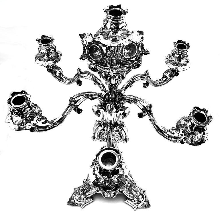 English Large Antique Victorian Solid Silver Candelabra 1852 Candelabrum / Candleholder For Sale