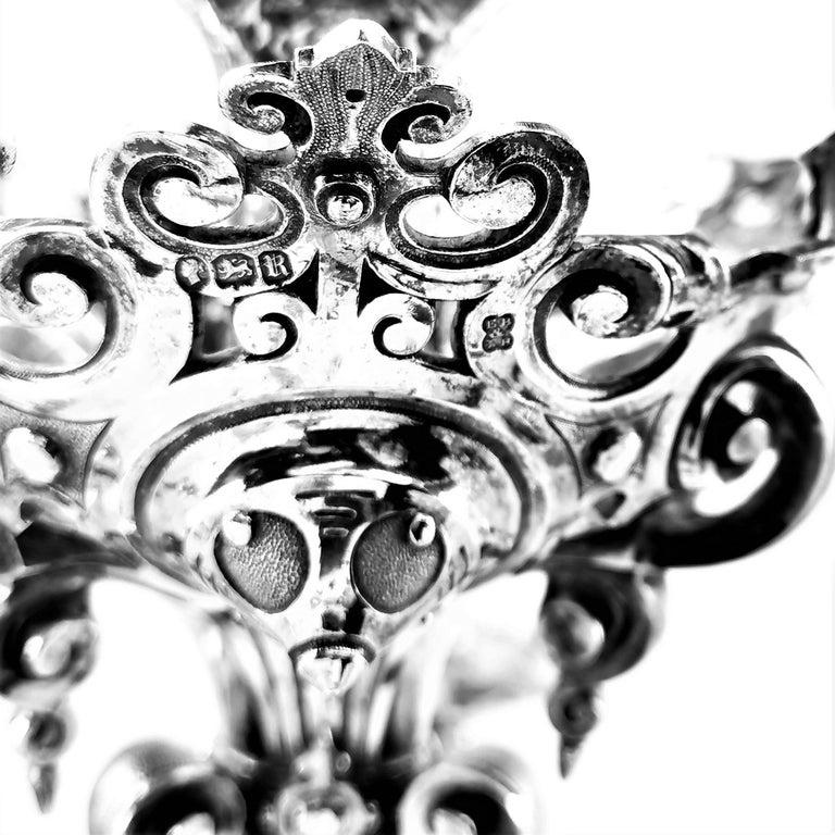 Large Antique Victorian Solid Silver Candelabra 1852 Candelabrum / Candleholder For Sale 3