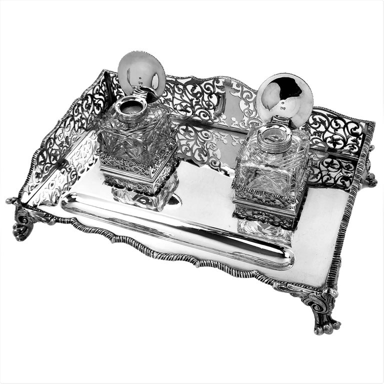 English Large Antique Victorian Sterling Silver Inkstand Inkwell, 1895 For Sale