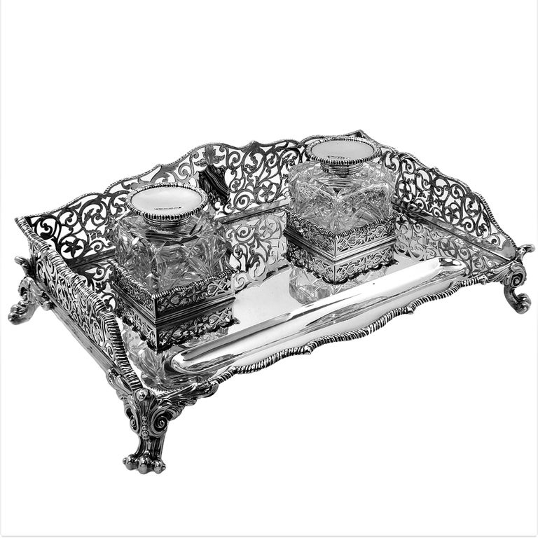 Large Antique Victorian Sterling Silver Inkstand Inkwell, 1895 In Good Condition For Sale In London, GB