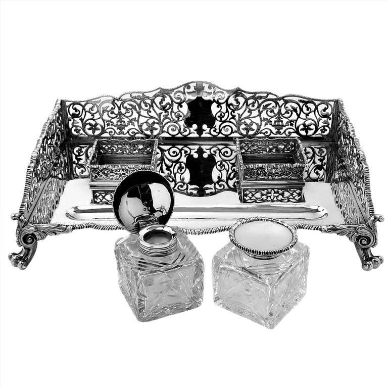 19th Century Large Antique Victorian Sterling Silver Inkstand Inkwell, 1895 For Sale