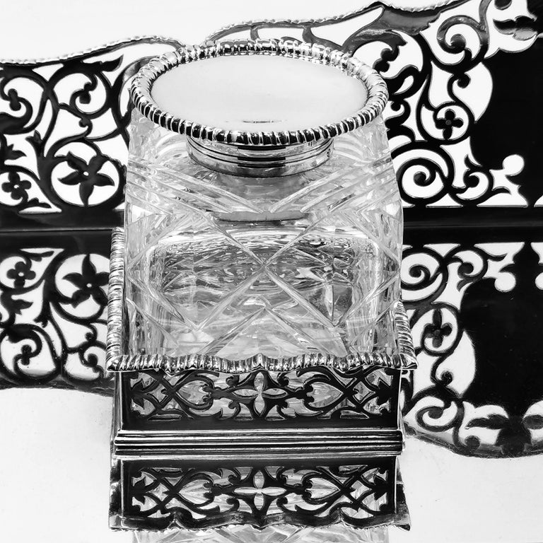 Large Antique Victorian Sterling Silver Inkstand Inkwell, 1895 For Sale 1