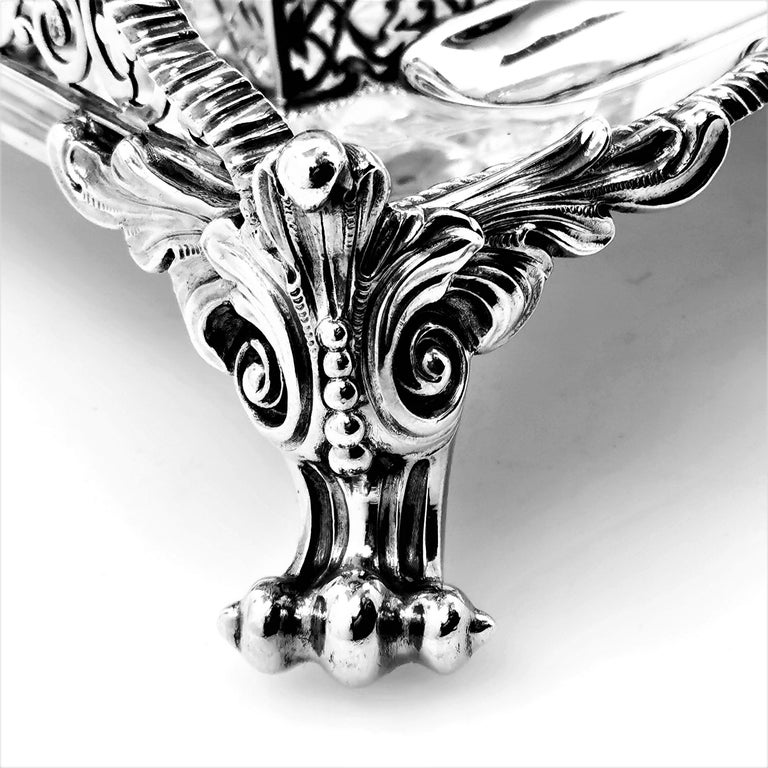 Large Antique Victorian Sterling Silver Inkstand Inkwell, 1895 For Sale 2