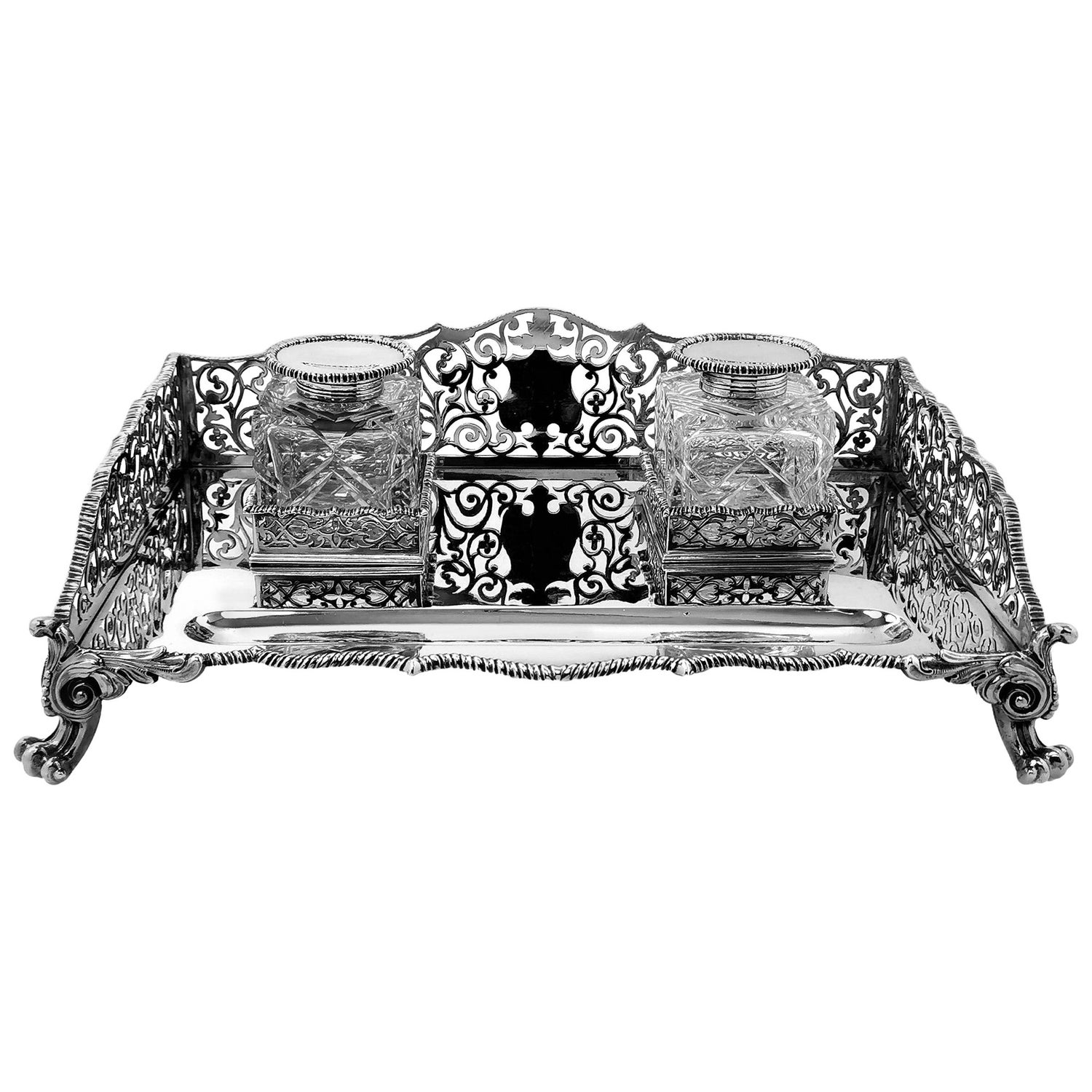 Large Antique Victorian Sterling Silver Inkstand Inkwell, 1895