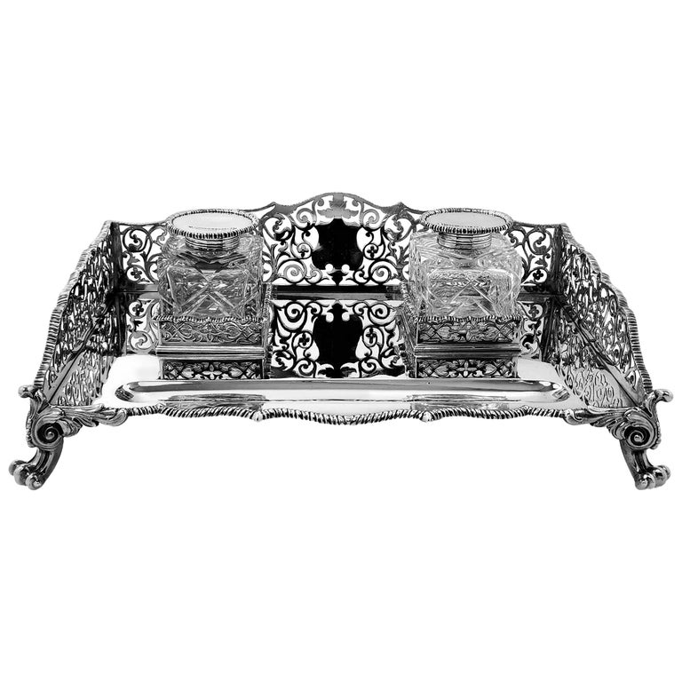 Large Antique Victorian Sterling Silver Inkstand Inkwell, 1895 For Sale