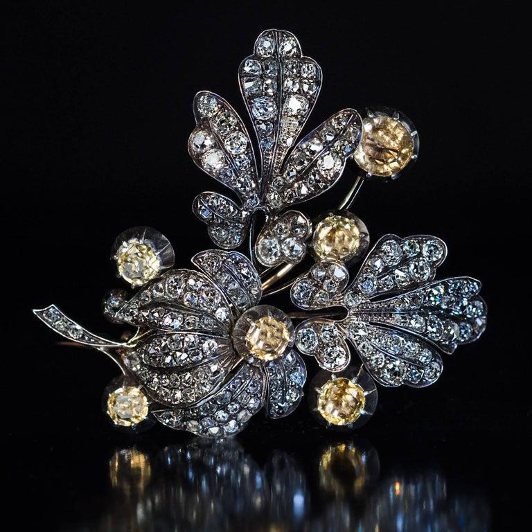 Women's Large Antique Victorian Topaz Diamond Flower Brooch For Sale