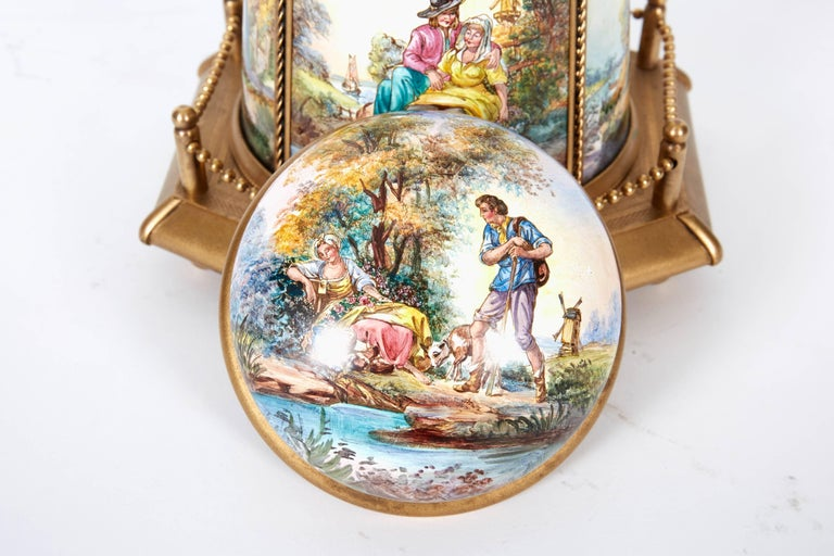 Large Antique Viennese Austrian Enamel And Bronze Windmill Musical Jewelry Box For 7