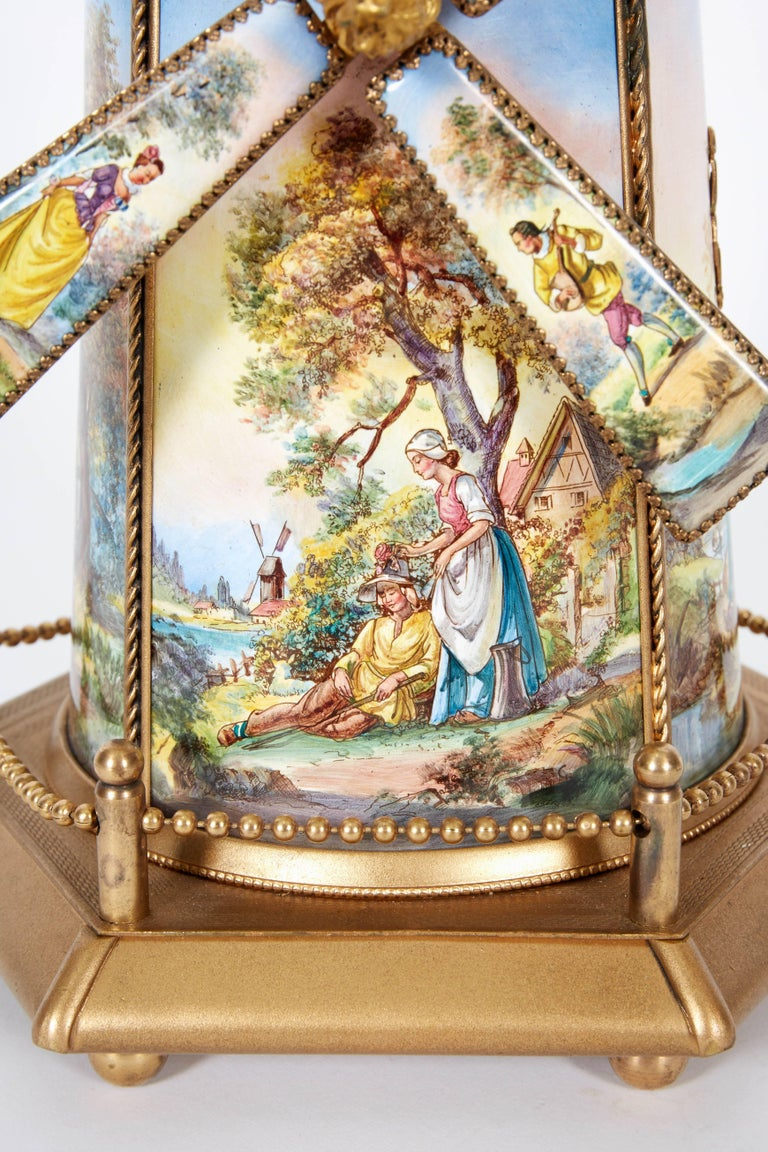 A Large Antique Viennese Austrian Enamel And Bronze Windmill Musical Jewelry Box Cover