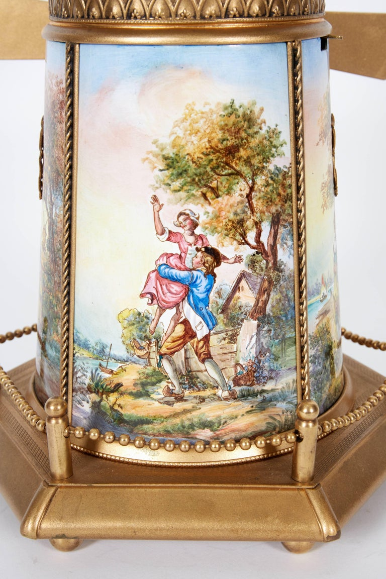 Large Antique Viennese Austrian Enamel And Bronze Windmill Musical Jewelry Box For 4