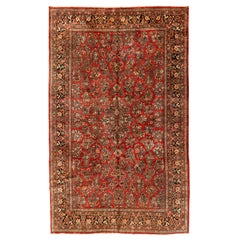 Large Antique Vintage Persian Red and Gold Floral Sarouk Rug, circa 1920s