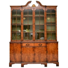 Large Antique Walnut Breakfront Bookcase