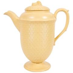 Large Antique Wedgwood Coffee Pot of Glazed Cane-Yellow Stoneware, circa 1830