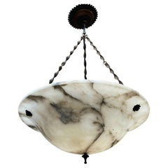 Large Antique White Alabaster Pendant Light / Chandelier w Special Twisted Chain