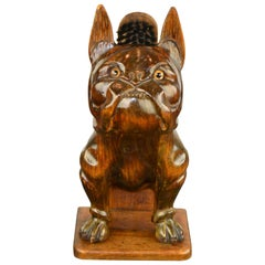 Large Antique Wooden French Bulldog Brush Holder, Late 19th Century