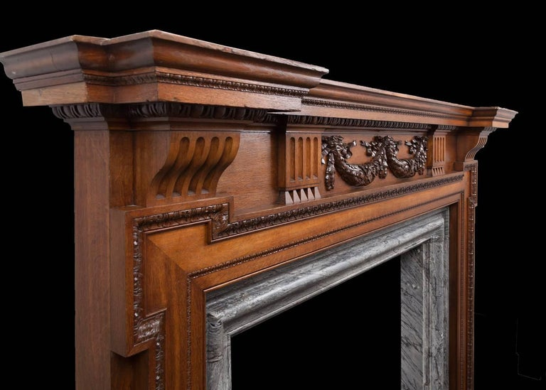 Palladian Large Antique Wooden Mantelpiece For Sale