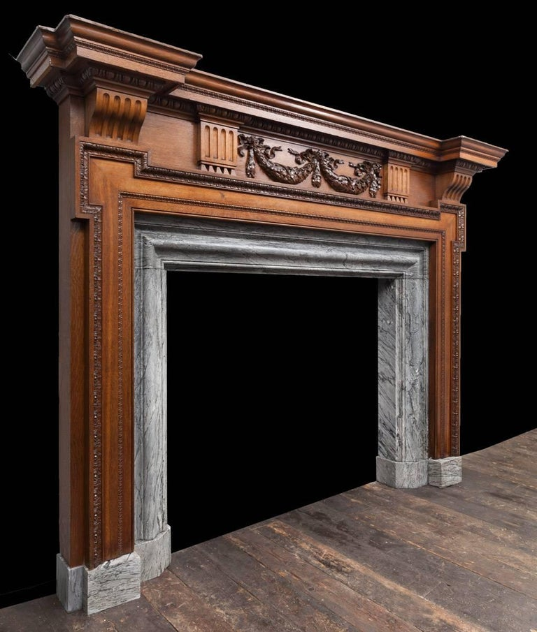 English Large Antique Wooden Mantelpiece For Sale