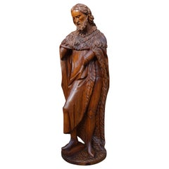 Large Antique Wooden Sculpture of John the Baptist w. Stunning Hand Carved Face