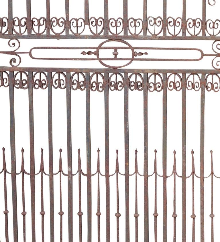 English Large Antique Wrought Iron Entrance Gates For Sale