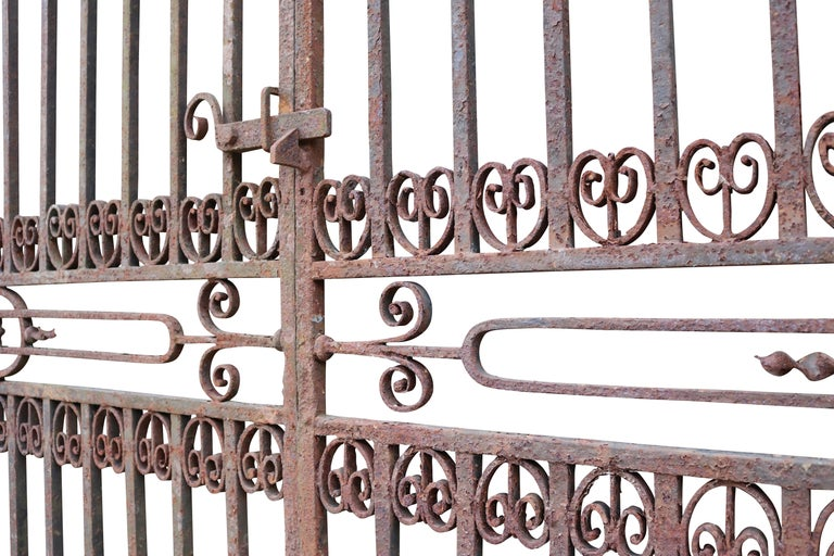 19th Century Large Antique Wrought Iron Entrance Gates For Sale