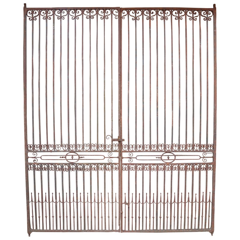 Large Antique Wrought Iron Entrance Gates For Sale