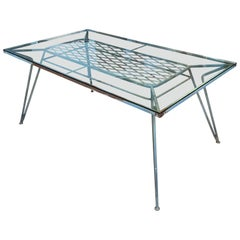 Large Antique Wrought Iron and Glass Dining Table by Salterini