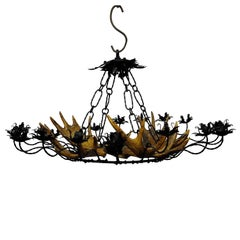 Large Antler Chandelier with Forged Iron Suspension