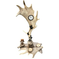 Large Antler Table Clock, Centrepiece and Smoke Stand