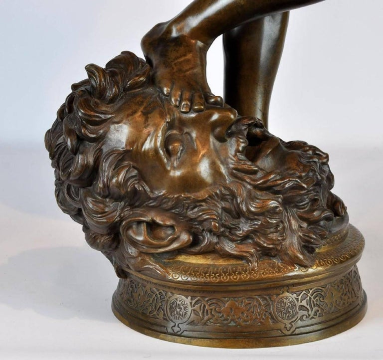 Large Antonin Mercie Bronze of David & Slain Golia For Sale 5