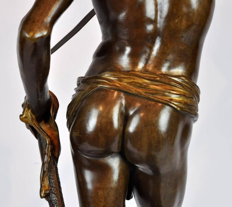 Large Antonin Mercie Bronze of David & Slain Golia For Sale 6