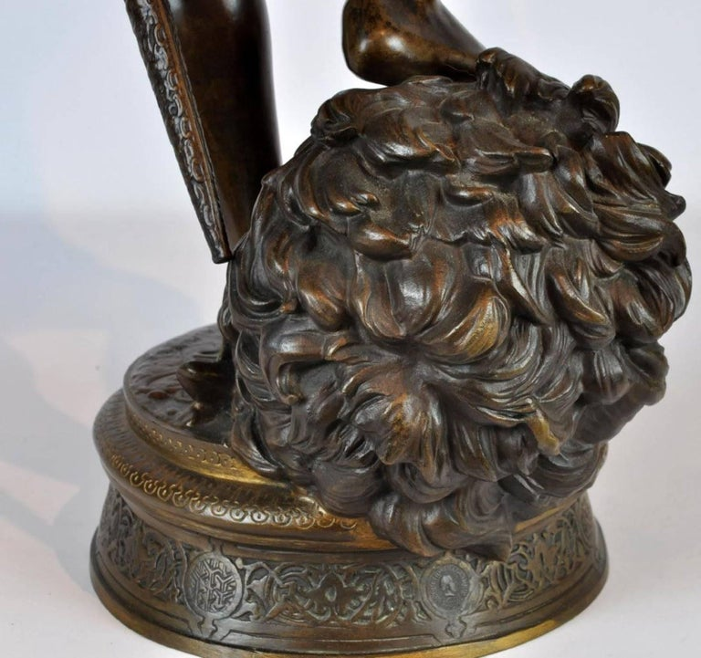 Large Antonin Mercie Bronze of David & Slain Golia For Sale 7