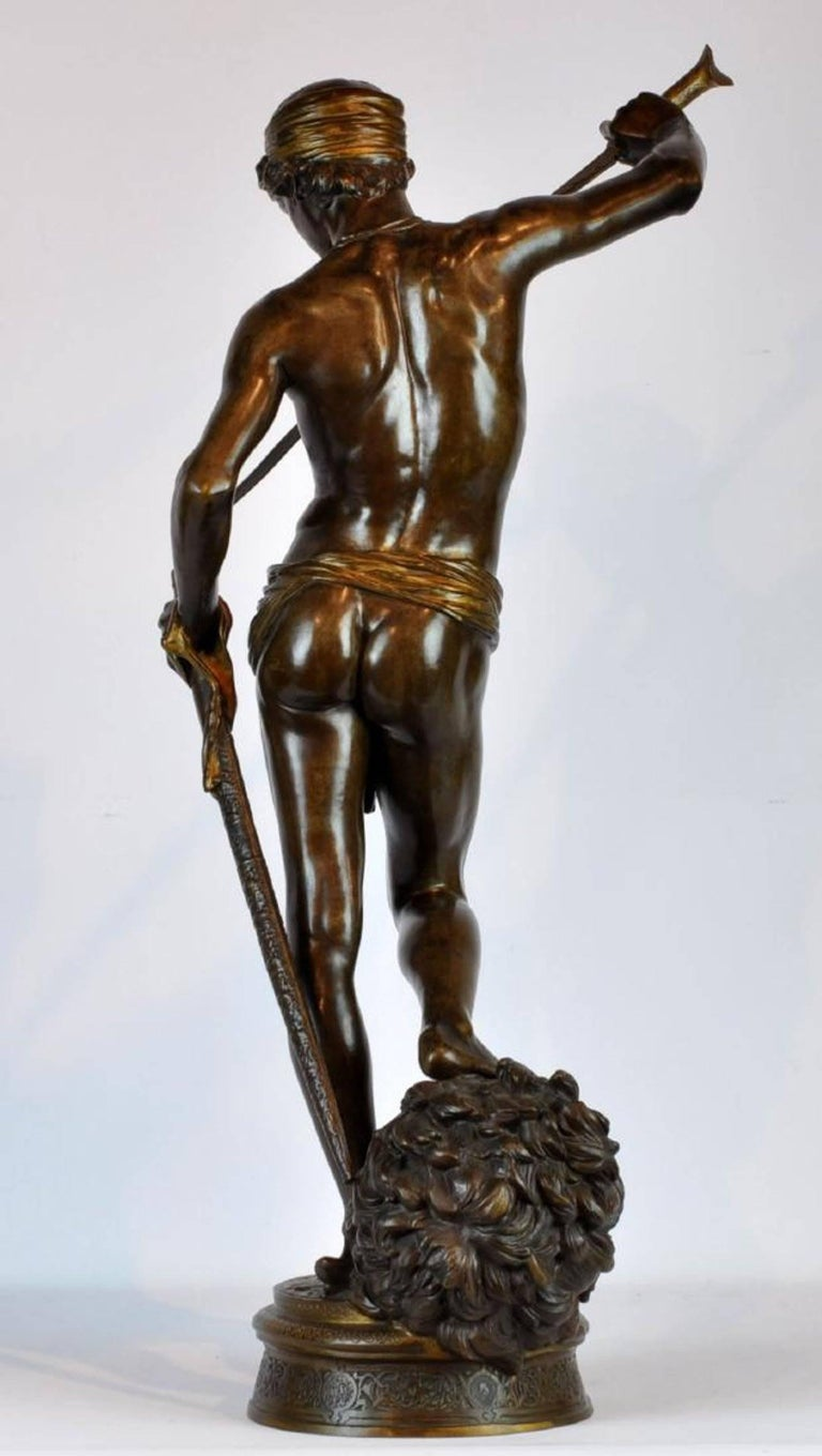 Large Antonin Mercie Bronze of David & Slain Golia For Sale 1