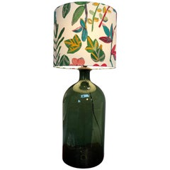 Large Antque Hand Blown Glass Vase Table Lamp