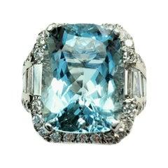 Large Aqua Stone 'Cushion Cut' Ring with White Diamonds and White Gold