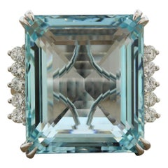 Large Aquamarine Diamond Gold Cocktail Ring